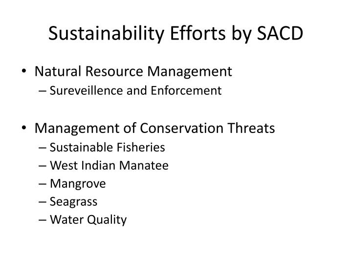 Sustainability Efforts by SACD