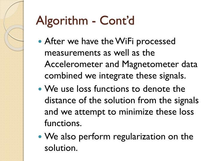 Algorithm - Cont'd