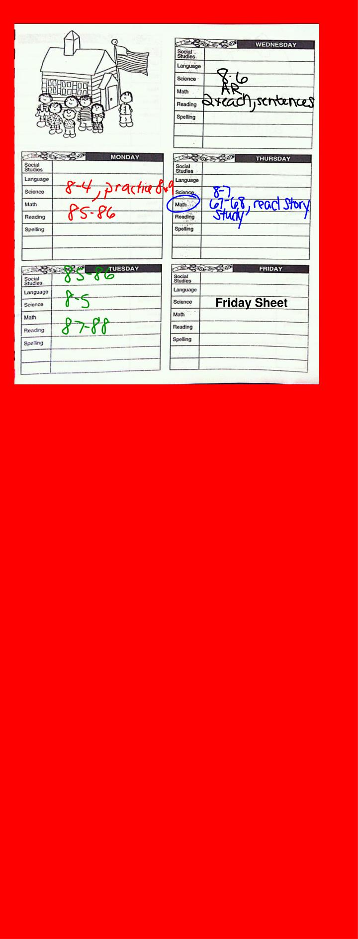 Friday Sheet