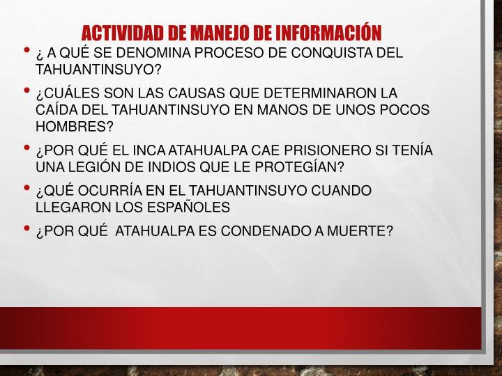 ACTIVIDAD DE MANEJO DE INFORMACIÓN