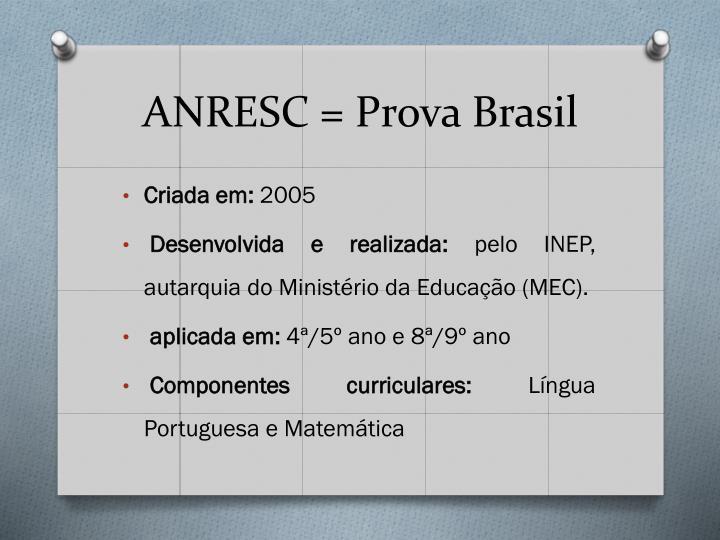 ANRESC = Prova Brasil