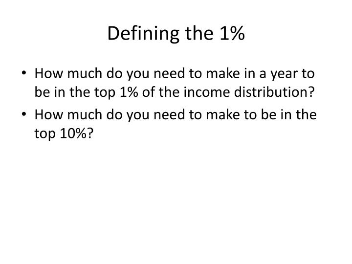 Defining the 1%