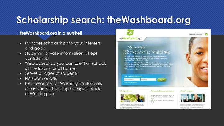 Scholarship search: theWashboard.org