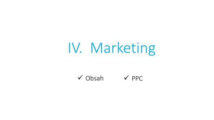 IV.  Marketing