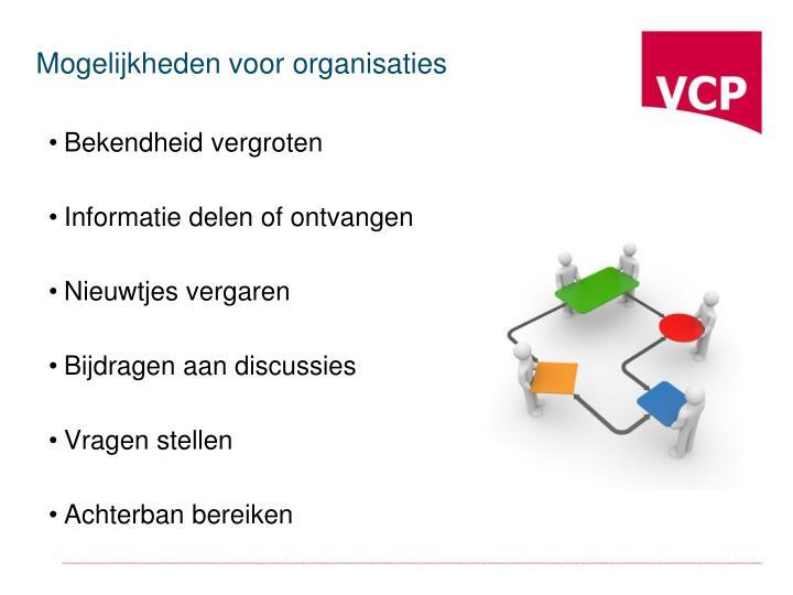 Mogelijkheden voor organisaties
