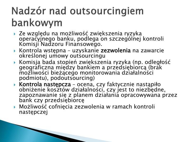 Nadzór nad outsourcingiem bankowym