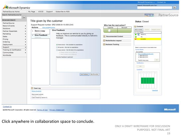 Click anywhere in collaboration space to conclude.