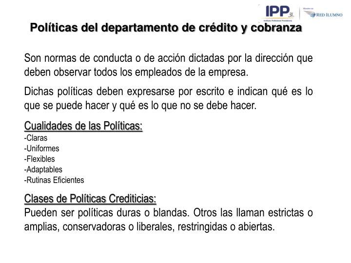 Políticas del departamento de crédito y cobranza