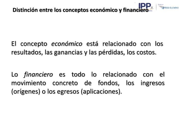 Distinción entre los conceptos económico y financiero
