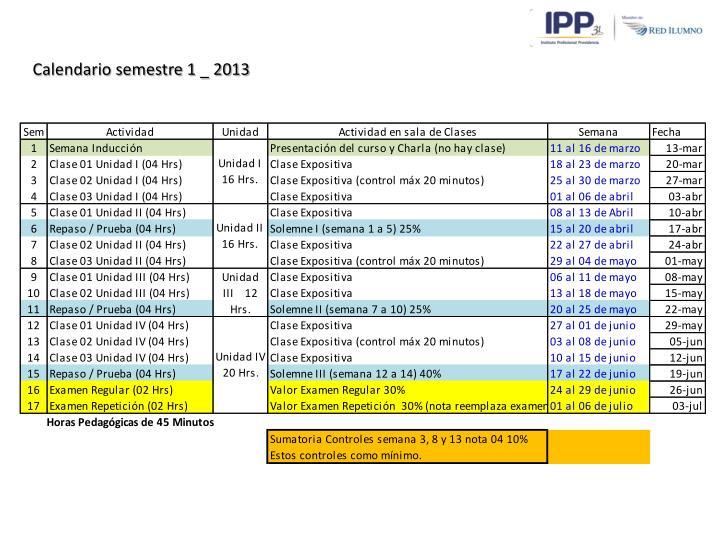 Calendario semestre 1 _ 2013