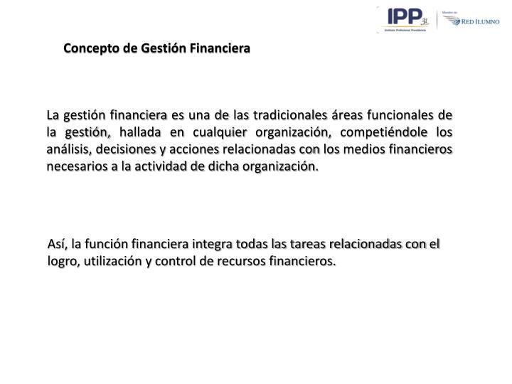 Concepto de Gestión Financiera
