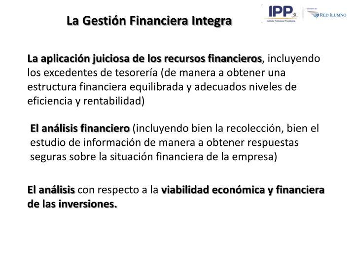 La Gestión Financiera Integra