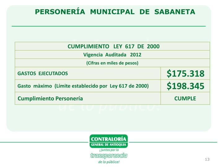 PERSONERÍA  MUNICIPAL  DE  SABANETA