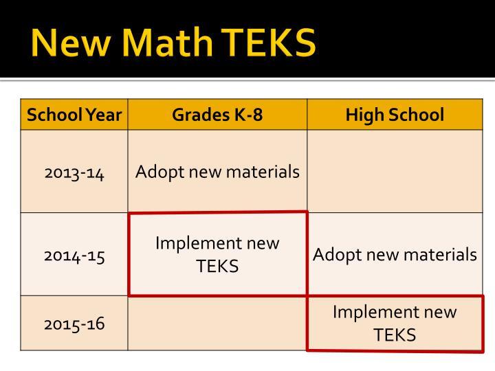 New Math TEKS