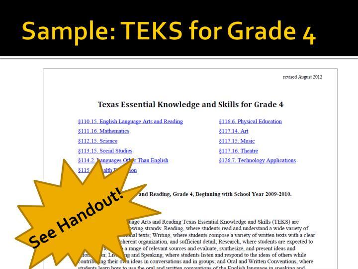 Sample: TEKS for Grade 4