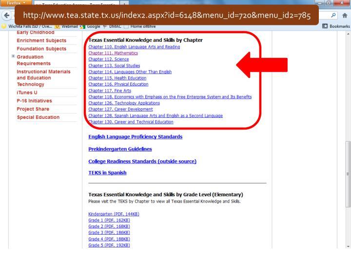 http://www.tea.state.tx.us/index2.aspx?id=6148&menu_id=720&menu_id2=785