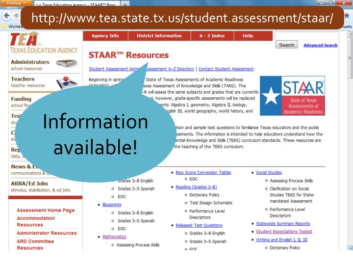 http://www.tea.state.tx.us/student.assessment/staar/