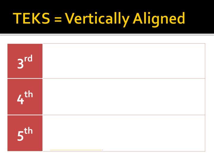 TEKS = Vertically Aligned