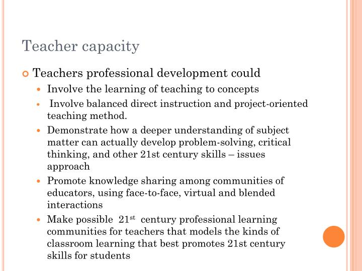 Teacher capacity