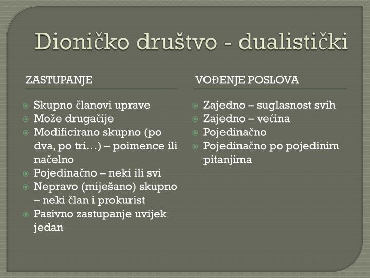 Dioničko društvo - dualistički