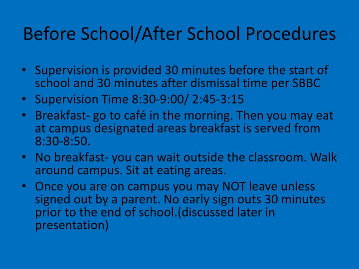 Before School/After School Procedures