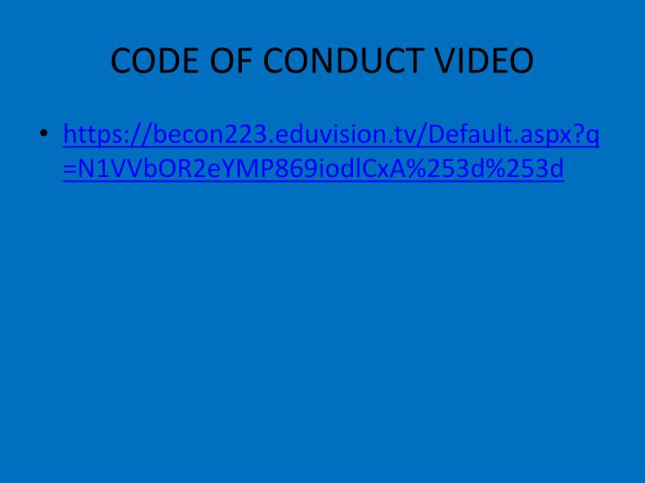 CODE OF CONDUCT VIDEO