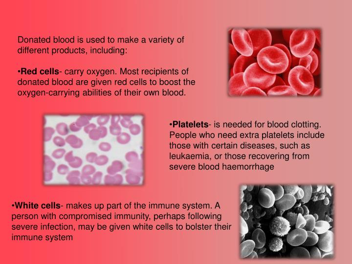 Donated blood is used to make a variety of different products, including