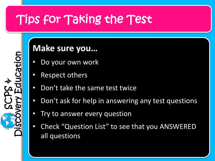 Tips for Taking the Test