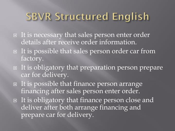 SBVR Structured English