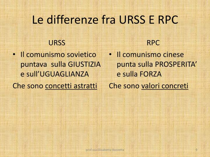 Le differenze fra URSS E RPC