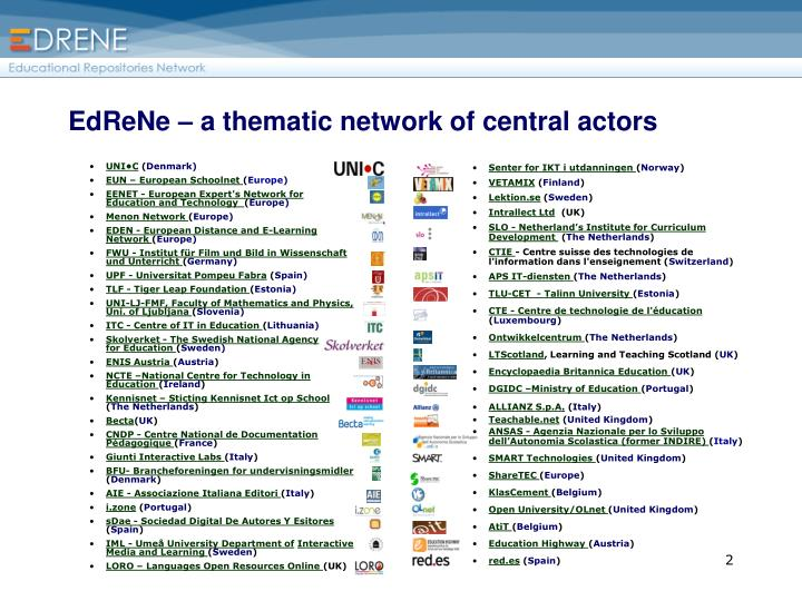Edrene a thematic network of central actors