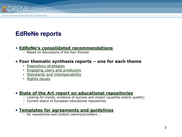 EdReNe reports