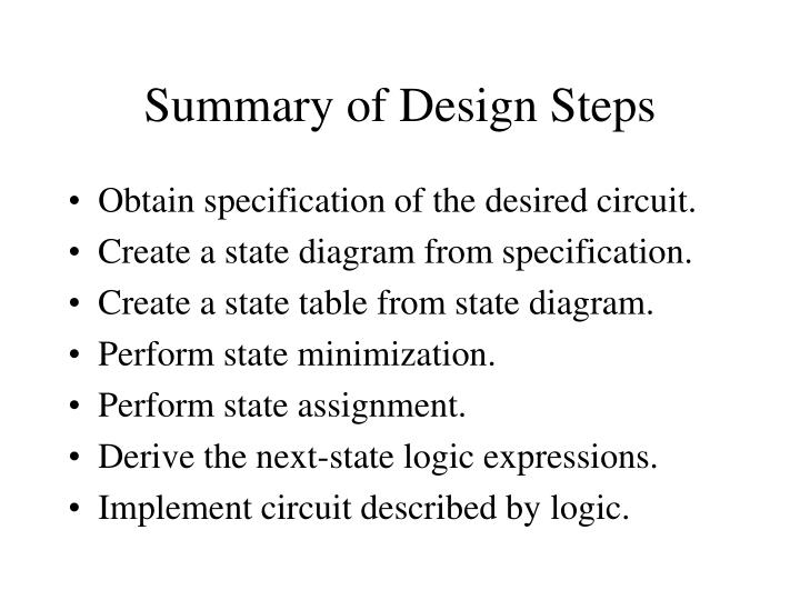 Summary of Design Steps