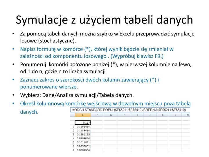 Symulacje z użyciem tabeli danych