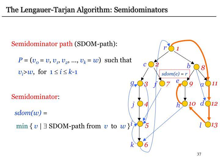 The Lengauer-Tarjan Algorithm: Semidominators