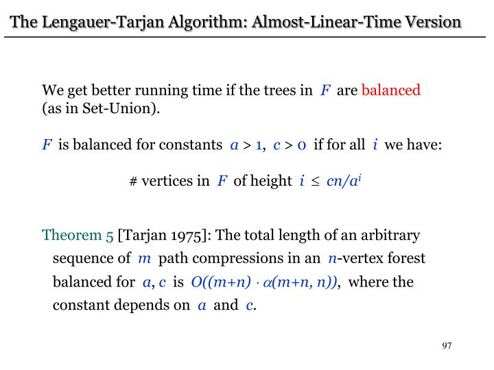 The Lengauer-Tarjan Algorithm: Almost-Linear-Time Version