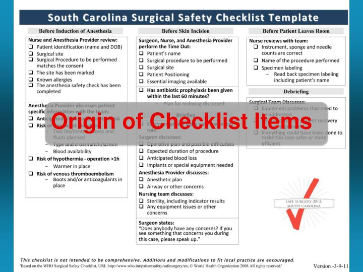Origin of Checklist Items