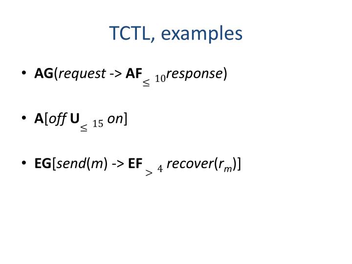 TCTL, examples
