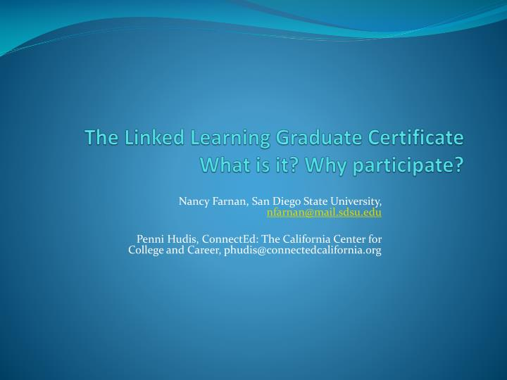 The linked learning graduate certificate what is it why participate