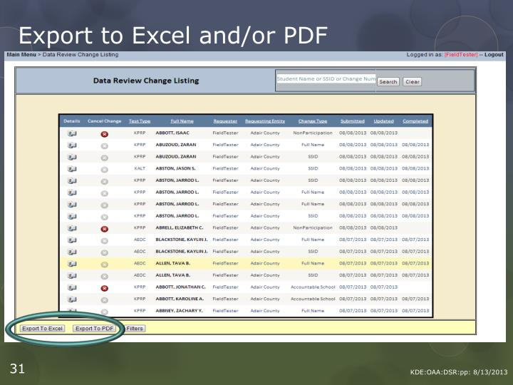 Export to Excel and/or PDF
