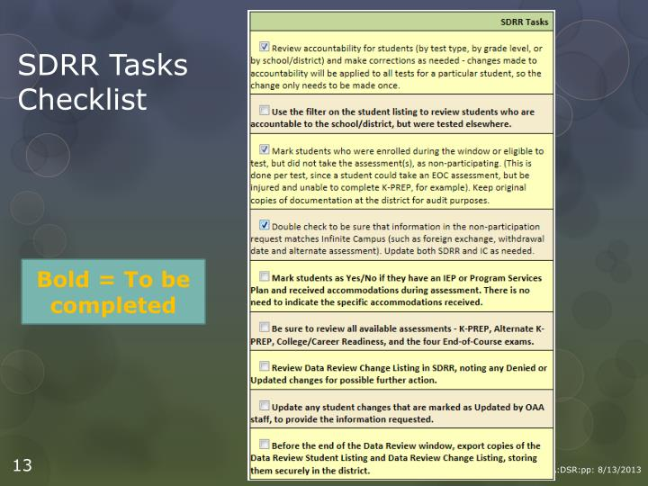 SDRR Tasks Checklist