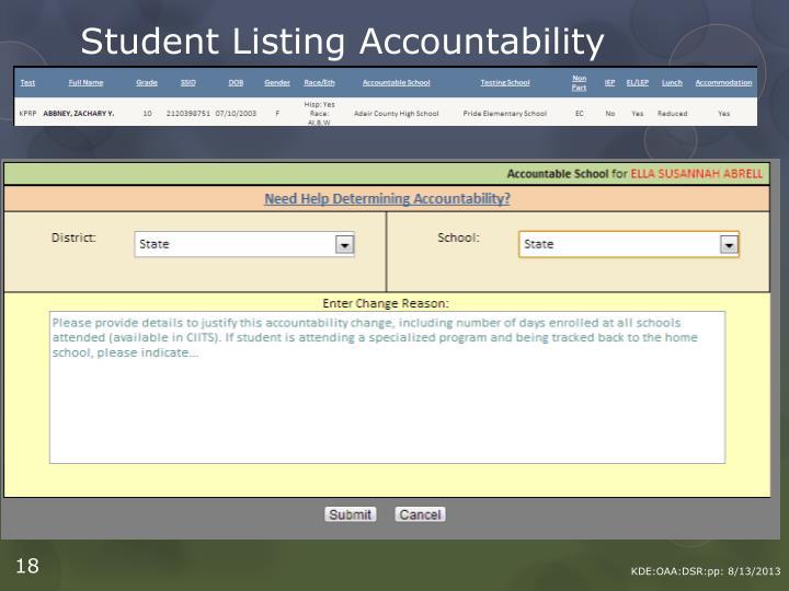 Student Listing Accountability