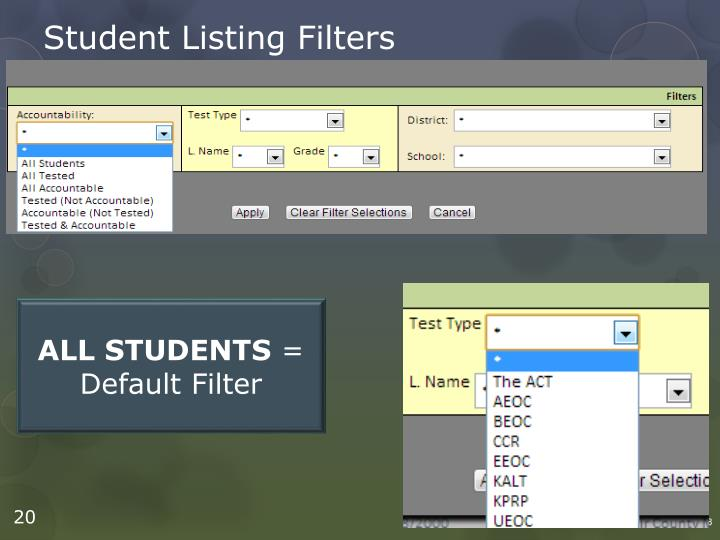 Student Listing Filters