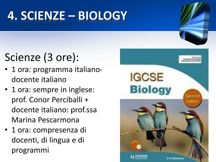 4. SCIENZE – BIOLOGY