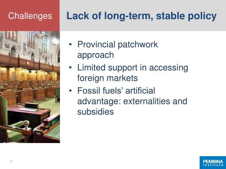 Lack of long-term, stable policy
