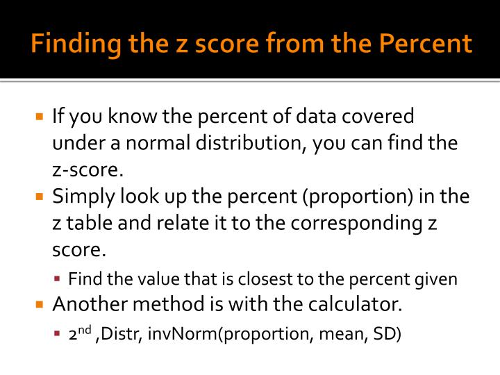 Finding the z score from the Percent