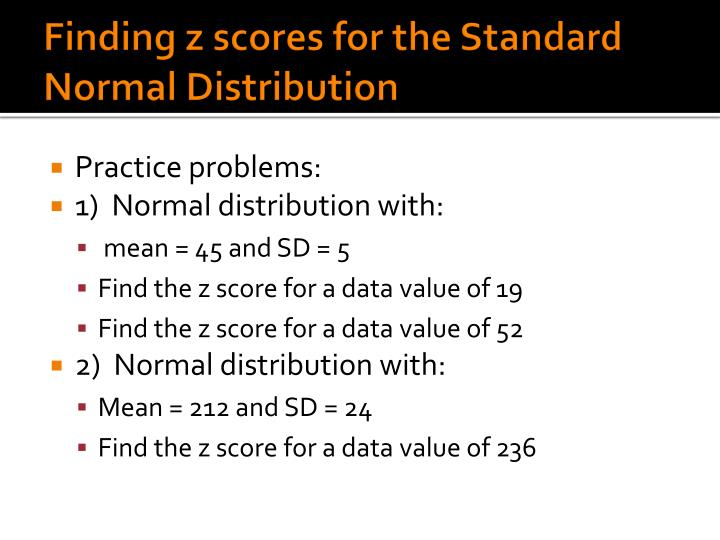 Finding z scores for the Standard Normal Distribution