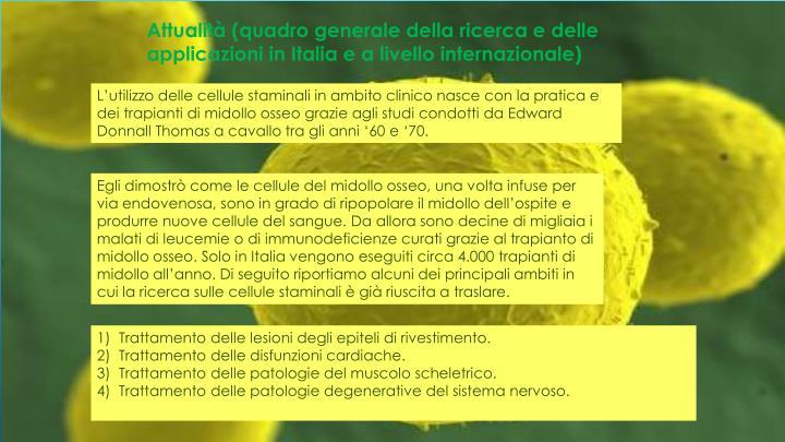 Attualità (quadro generale della ricerca e delle applicazioni in Italia e a livello internazionale)