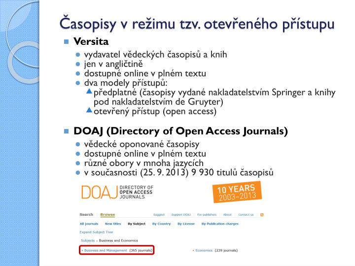 Časopisy v režimu tzv. otevřeného přístupu
