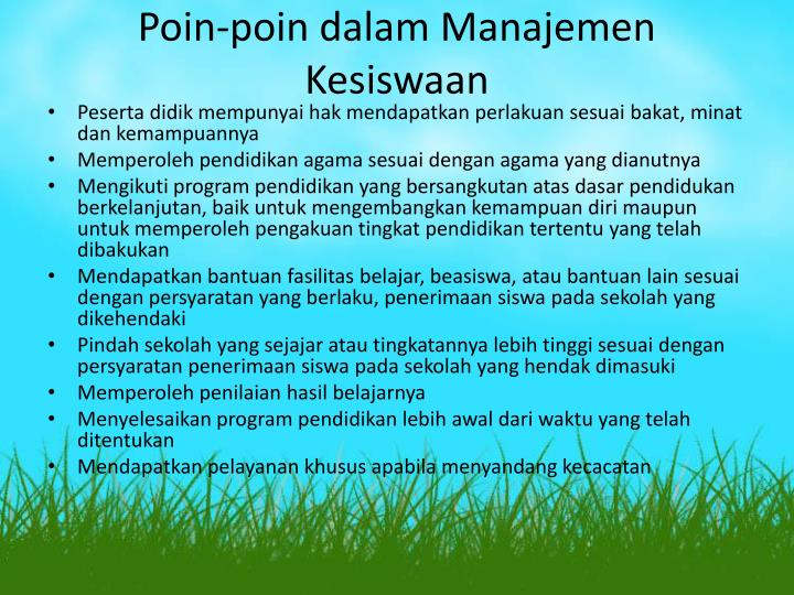 Poin-poin dalam Manajemen Kesiswaan